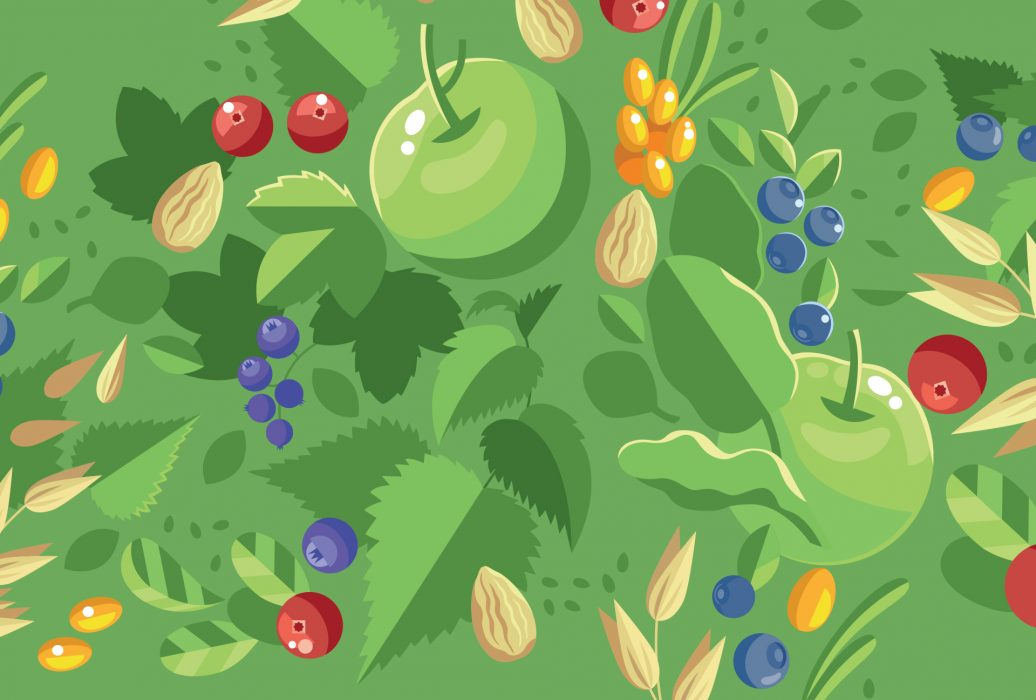 illustrated berries and fruits on a green background