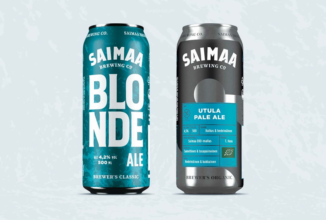 two beers with blue labels and a light blue background